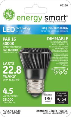GE Energy Smart 25W Replacement (4.5W) PAR16 LED Bulb (Warm, Dim) $28.95