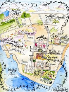 Custom Wedding Map- Calligraphy and Watercolor want something like this with the itinerary