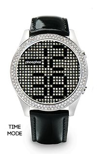 Phosphor Appear Black Crystal Watch with Black Gloss Leather Strap $249  1-888-535-1231