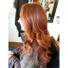 Copper red hair with balayage.