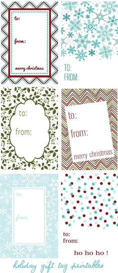 6 holiday gift tag printables - use as labels for your gifts :)