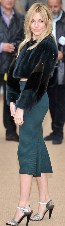 Who made  Sienna Miller's blue skirt, coat, and sandals that she wore in London?