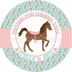 SHABBY CHIC HORSE favor tags in pink and by PrettyPartyCreations, $6.25