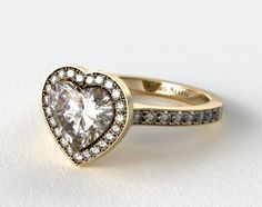 18k Yellow Gold Pave Halo  Heart Shaped Engagement Ring #heart #engagement #ring