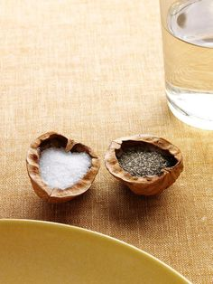 Halve a walnut and use the shells to fill with salt & pepper. Each person gets one at their place setting and you won't need to keep passing the salt! How clever!