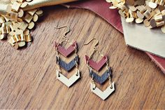 Autumn Chevron Dangles by mooreaseal on Etsy, $28.00