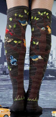 #socks #knit #wool #birds #trees