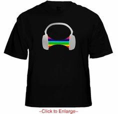 Pump It Up Headphones T-Qualizer T-Shirt. Multi colored bars jump and flash in time to the music wherever you are combining retro-cool with up to the minute digital technology. Price $24.99