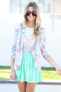 skirt, pastel, lace tops, floral prints, summer outfit, blazer, spring colors, summer colors, bright colors