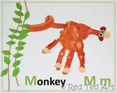 M is for Monkey- Handprint alphabet book. I can see this is a craft in the future!