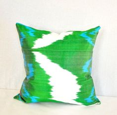 Green Ikat pillow cover 20 X 20  by EasternHomeDecor on Etsy, $26.00