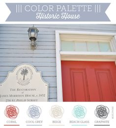 Coral, Cool blue grey, beige, beach glass, graphite and chalk white East Coast sea cottage color palette via Delphine Ephemera