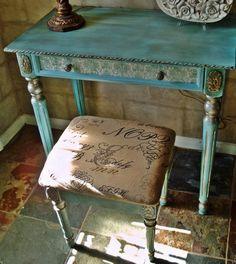 Robin Egg Blue Antique Vanity