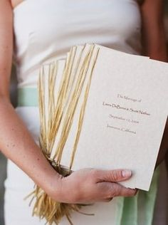 White, Green, Wedding, And, Rustic, Programs, Cream