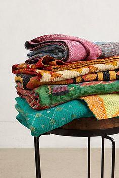 hand-stitched kantha throw blanket #anthrofaves