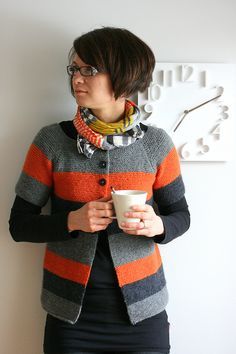 I absolutely love this garter stitch cardigan. The colors are amazing!