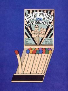 Metropolitan Printing in Push Pin Graphic retro vintage illustration design matches