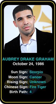 Celeb #Scorpio birthdays: Drake's astrology info! Sign up here to see more: https://www.astroconnects.com/galleries/celeb-birthday-gallery/scorpio #astrology #horoscope #zodiac #birthchart #natalchart #drake #drizzy