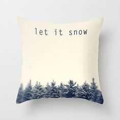 Decorative pillow pine trees winter snow pillow by HappyPillowShop