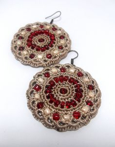 earrings crocheted with beads