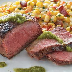 Elevate a perfectly seasoned and grilled steak with a fabulous sauce and flavorful side. Sirloin Steak with Creamed Corn and Salsa Verde is simple and delicious.