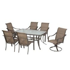 Martha Stewart Living Grand Bank 7-Piece Patio Dining Set-DY4067-7PC at The Home Depot- dries quickly after rain