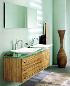 A floating vanity can provide bathroom storage, but still keep a light feel.
