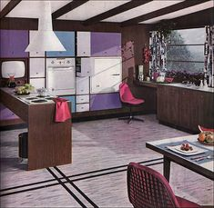 Purple! Great bold lines. 1956 Armstrong Modern Kitchen