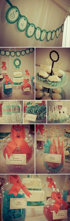 Red, coral, and teal baby shower dessert table featuring my vintage book heart and handstamped cupcake toppers!