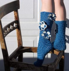 Teal flower crochet slipper socks by ValkinThreads on Etsy, $23.00