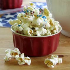 White Chocolate Popcorn with Dried Cherries - dress it up with sprinkles! #glutenfree