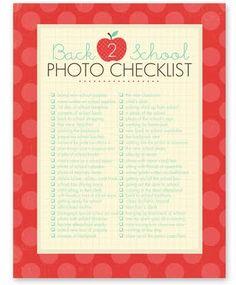 Back to school photo checklist.