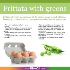 Frittata with Greens    We created a bunch of recipes that could help folks with fibromyalgia. Frittata with greens is really easy to cook and only takes about 10 minutes. It's a great way to make healthy cabbage taste yummy.