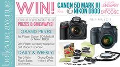 Canon 5D Mark III or Nikon D800 Giveaway PLUS Two-Month Prize Marathon!