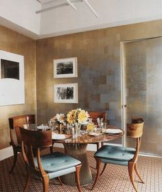 silver leaf dining rooms, blue, decorating ideas, bedroom wallpaper, bathrooms, wall treatments, back to work, tea, chair upholstery
