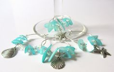Beach Wine Charms - Teal Mother of Pearl Chip Wine Charms $10.00