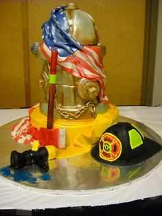 Patriotic Fire Hydrant & Hose Cake | Shared by LION