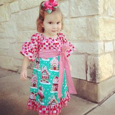 Custom Boutique Gingerbread house Peasant Dress from Dilly Dally Boutique at #achristmasaffair.