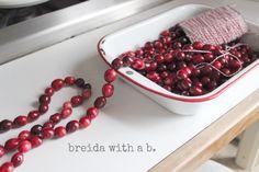 stringing cranberries