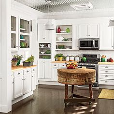 Charming Farmhouse Kitchen- Clean white. Create this look with @Covered Bridge Cabinetry !