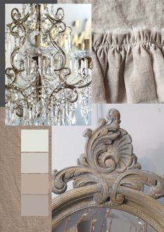 Rustic French inspiration for the bedroom - chandeliers, Rococo mirrors, and linen