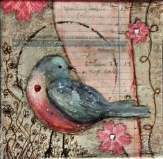 Art journal. smash book. Love Nothing So Well as You - Original Mixed Media Bird and Shakespeare by Chrysti Hydeck