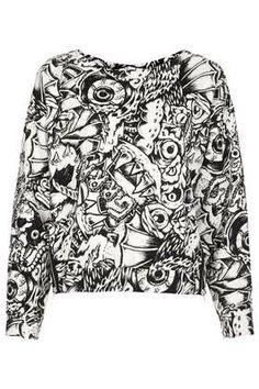 cloth, comic print, monster sweater, graphic comic, fashion tips
