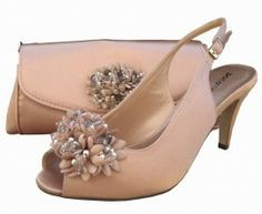 Nude Peep Toe Shoes, Matching Shoes and Bag, #EveningShoes