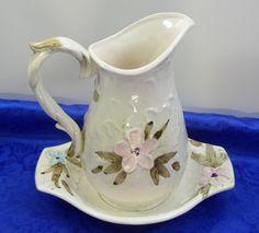 Porcelain Napco Pitcher Jug  Bowl/Dish Set White Pink Blue Flowers Brown
