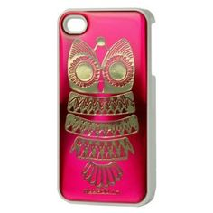 "Night Owl Rubberizing Hard Plastic Case for Iphone 4 4s ""Hot Pink"""
