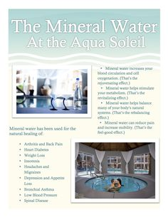 Here are some of the benefits of mineral water and aliments it has been used to heal. Amazing!