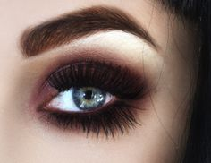Dark brown solid smokey eye #makeup