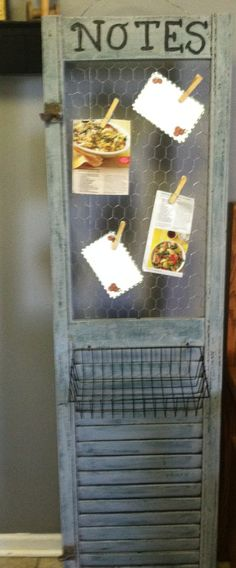 Repurposed shutter/recipe holder. Great idea! ... Put chicken wire in if some slats are missing!
