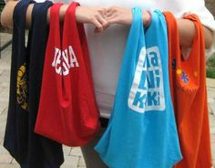 Great idea for recycling old t-shirts...use for grocery items, kids can use there own old t-shirts for overnight bags, etc